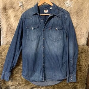 Levi's Button Down Denim Jean Long Sleeve Shirt